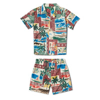 Reyn Spooner Hawaiian Christmas Boys Cabana Set in MAROON