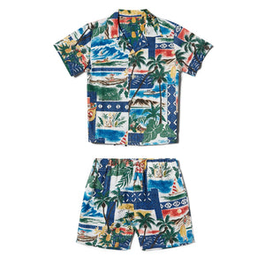 Reyn Spooner Hawaiian Christmas Boys Cabana Set in ROYAL