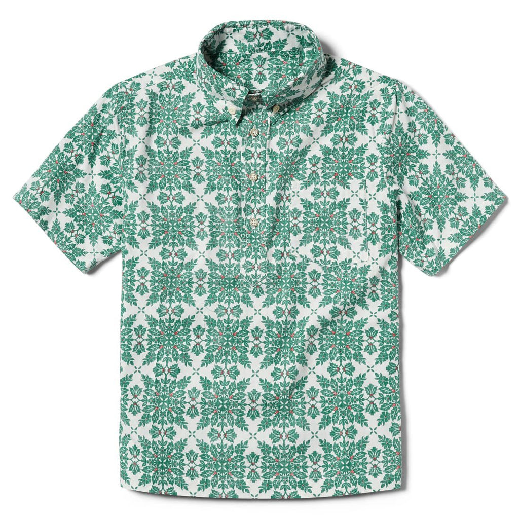 Reyn Spooner Christmas Quilt Boys Pullover Shirt in MINT