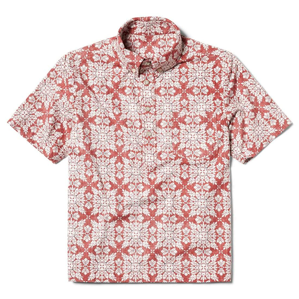 Reyn Spooner Christmas Quilt Boys Pullover Shirt in RED