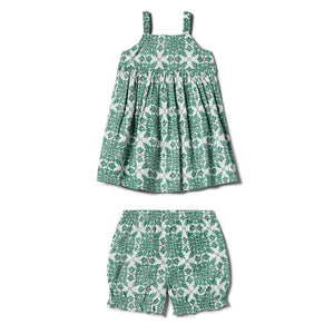 Reyn Spooner Christmas Quilt Girls Dress with Bloomers in MINT