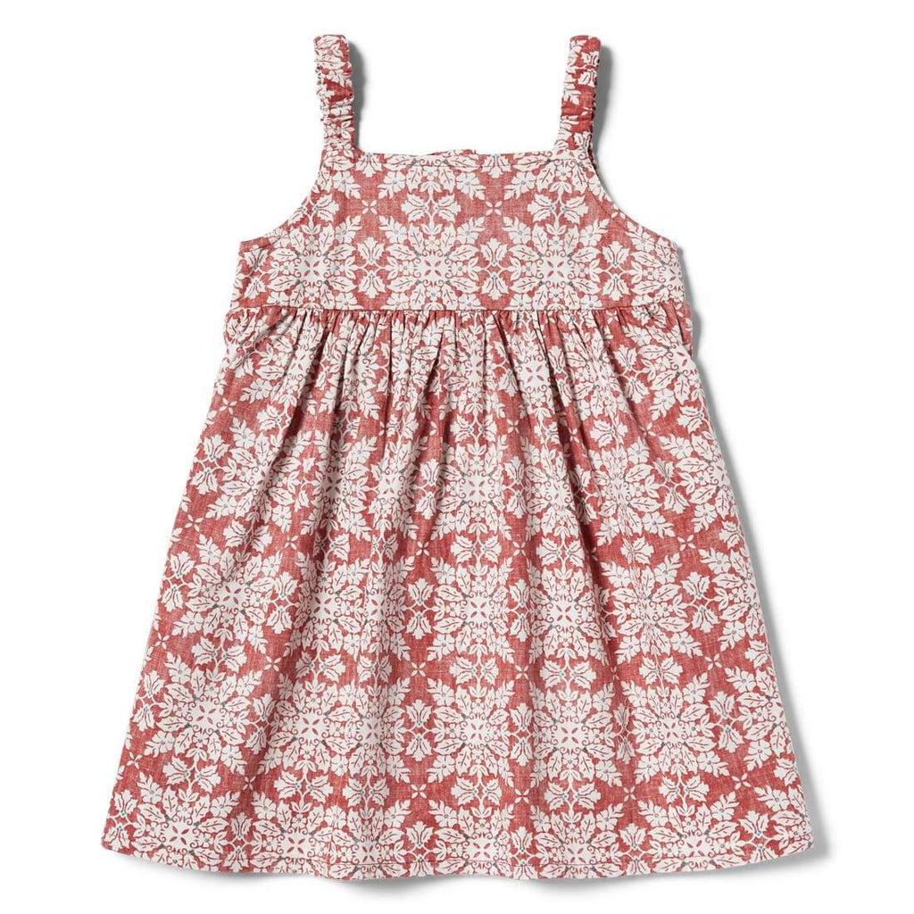Reyn Spooner Christmas Quilt Girls Dress in RED
