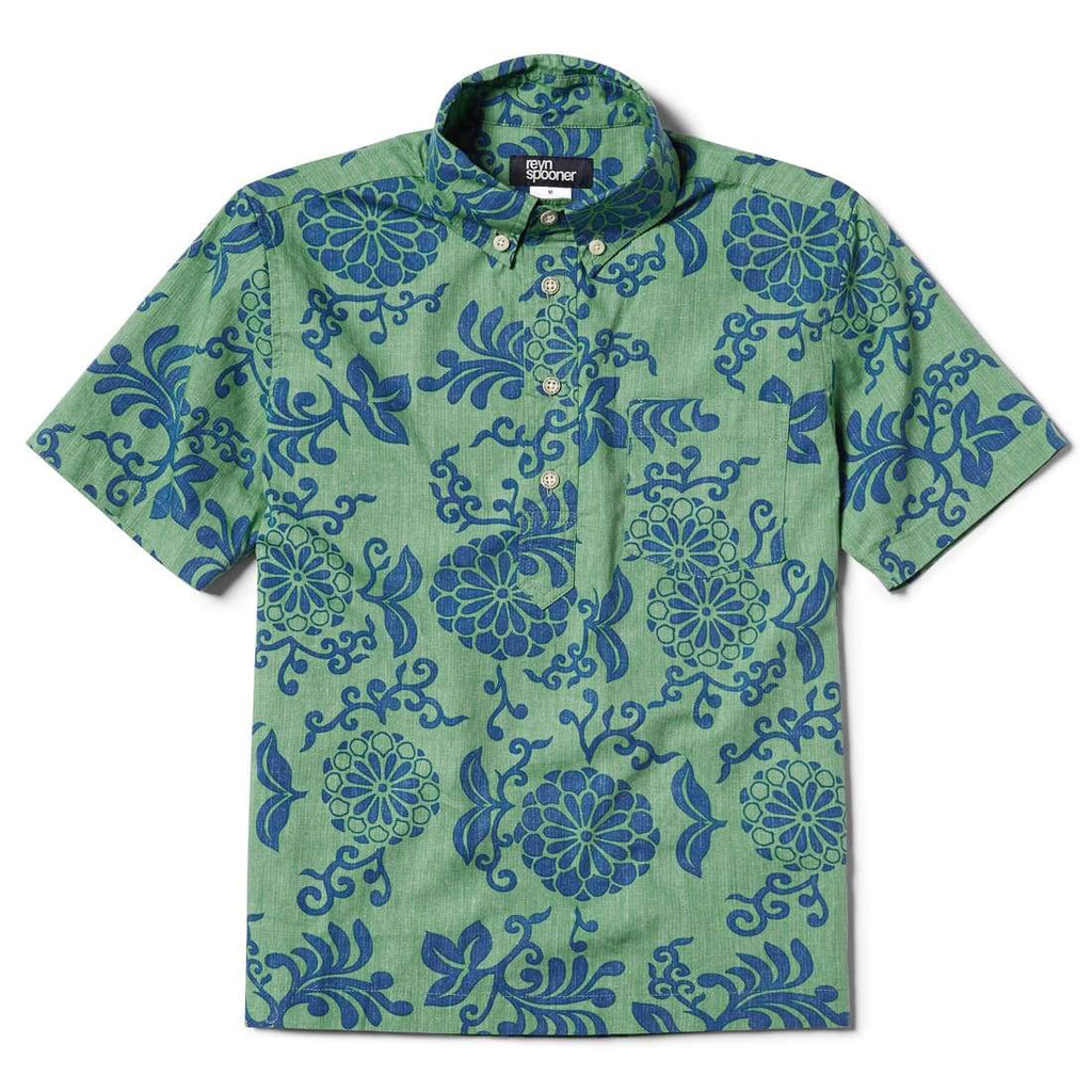 Reyn Spooner Royal Chrysanthemums Boys Pullover Shirt in MINT
