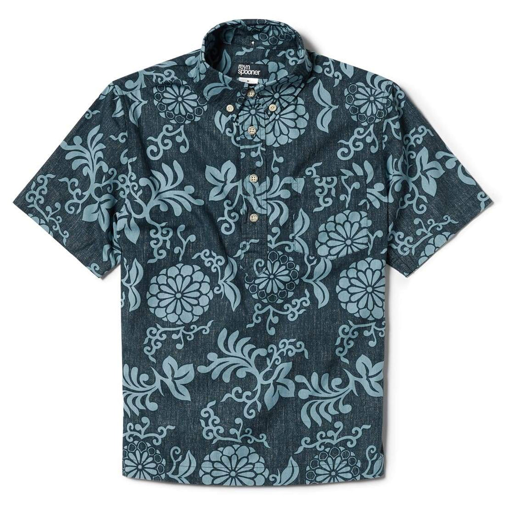 Reyn Spooner Royal Chrysanthemums Boys Pullover Shirt in NAVY