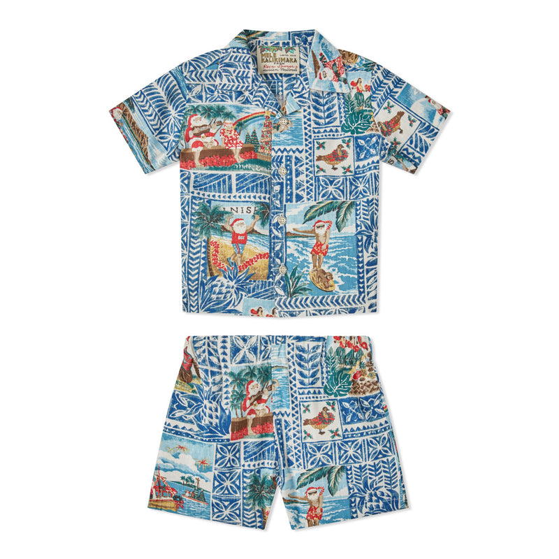 Reyn Spooner HAWAIIAN CHRISTMAS 2020 TODDLER CABANA SET in ESTATE BLUE