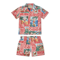 Reyn Spooner HAWAIIAN CHRISTMAS 2020 TODDLER CABANA SET in TIBETAN RED