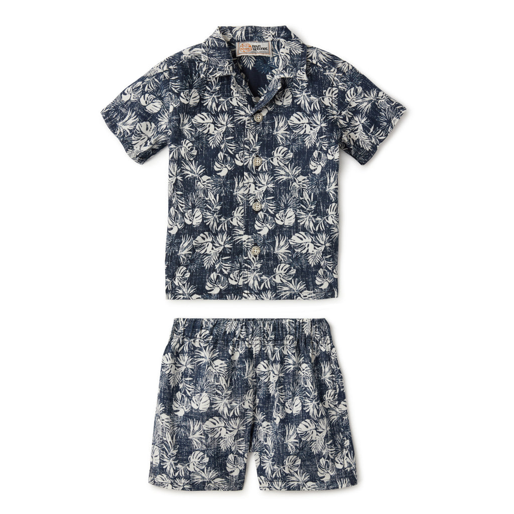 Reyn Spooner FESTIVE FOLIAGE TODDLER CABANA SET in DRESS BLUES