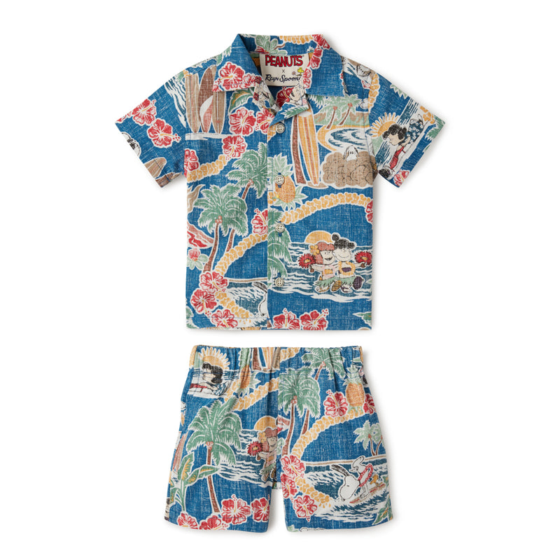 Reyn Spooner PEANUTS IN HAWAII TODDLER CABANA SET in DARK BLUE