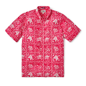 Reyn Spooner LAHAINA SAILOR ARCHIVE CLASSIC BUTTON FRONT in RED
