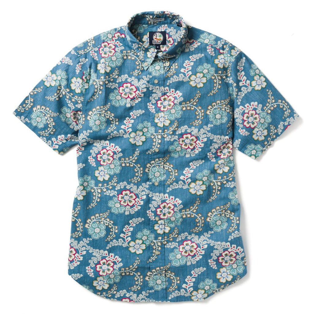 Reyn Spooner Furoshiki Floral Tailored Fit Button Front in DENIM