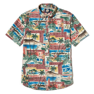 Reyn Spooner Hawaiian Christmas 2018 Weekend Wash Tailored Fit in MAROON