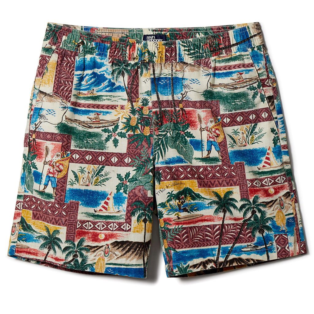 Reyn Spooner Hawaiian Christmas Short in MAROON