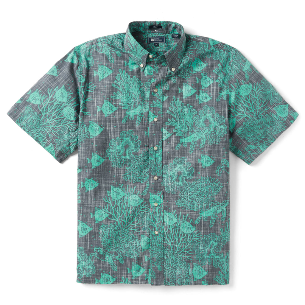 Reyn Spooner Scuba Doo Dive Classic Fit Button Front Shirt in BLACKENED PEARL
