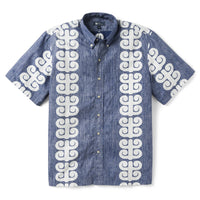 Reyn Spooner Stack A Tapa Classic Fit Button Front Shirt in TWILIGHT BLUE