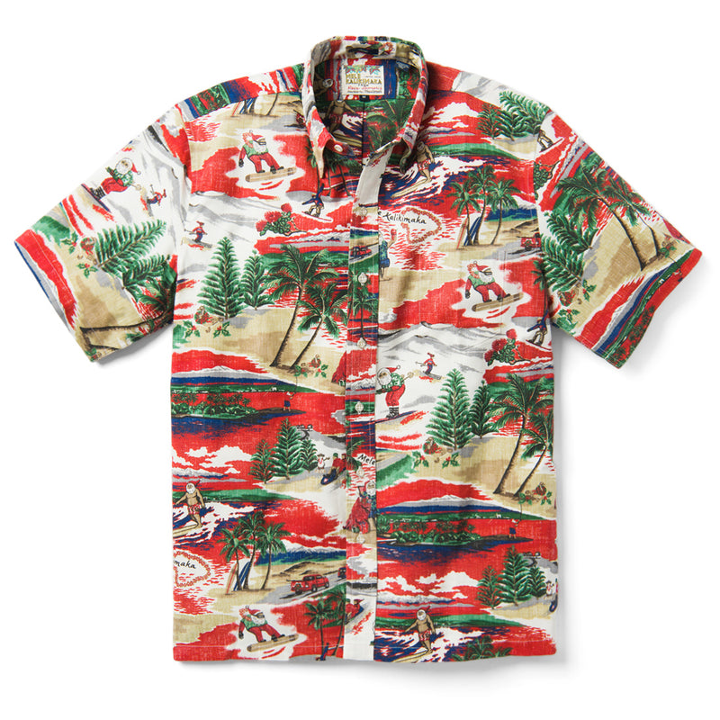Reyn Spooner Hawaiian Christmas 2019 POMPEIAN RED CLASSIC FIT BUTTON FRONT