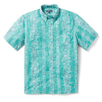 Reyn Spooner Pua Trail Classic Button Front TEAL BLUE