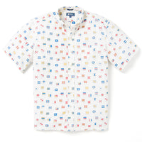 Reyn Spooner CHARLIE FOXTROT ARCHIVE CLASSIC BUTTON FRONT in MARSHMALLOW