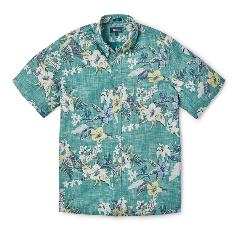 Reyn Spooner UPOLU SUNSET BUTTON FRONT in NORTH SEA