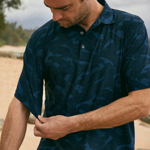 Reyn Spooner PACIFIC CURRENT POLO in HEATHER NAVY