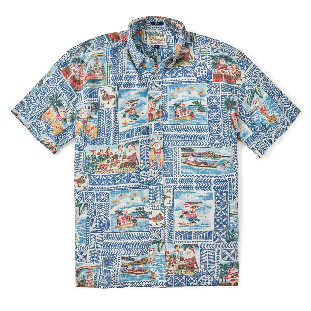 Reyn Spooner HAWAIIAN CHRISTMAS 2020 BUTTON FRONT in ESTATE BLUE