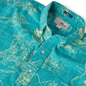 Reyn Spooner OUR PARADISE BUTTON FRONT in VIRIDIAN GREEN