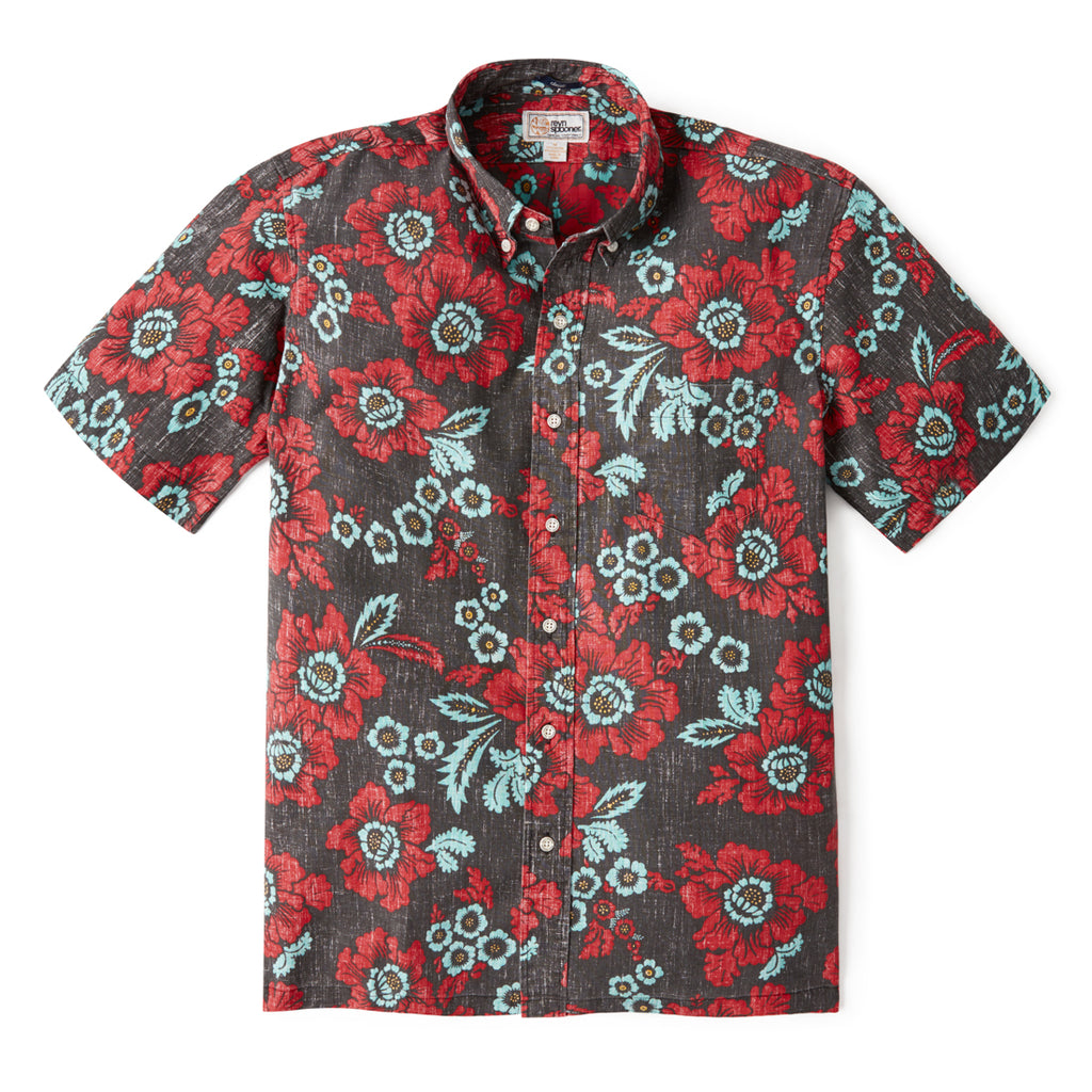 Reyn Spooner GOOD FORTUNE FLOWER BUTTON FRONT in BLACK
