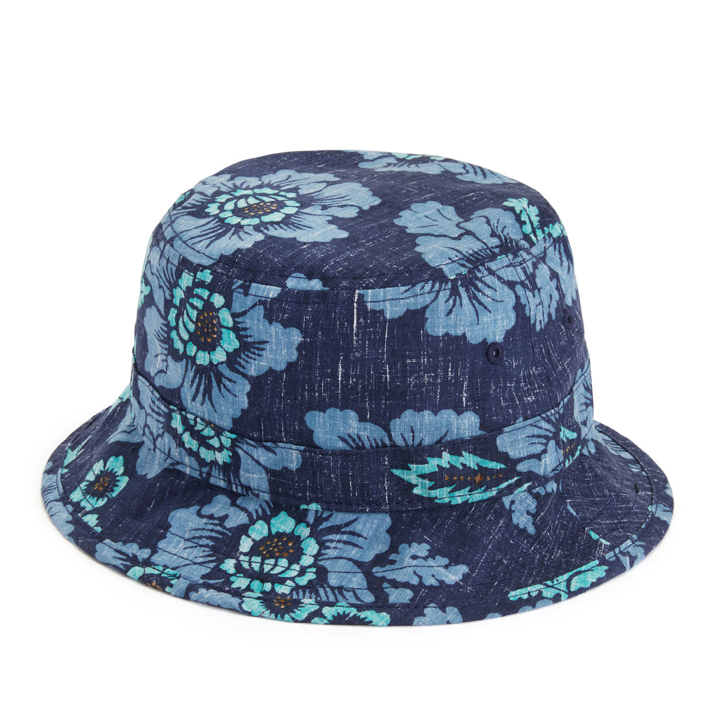 Reyn Spooner GOOD FORTUNE FLOWER BUCKET HAT in DRESS BLUES