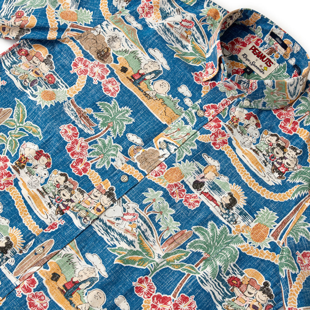 Reyn Spooner PEANUTS IN HAWAII BUTTON FRONT in DARK BLUE