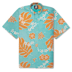 Old School Reyns Classic Fit Button Up Hawaiian Shirt in LAGOON