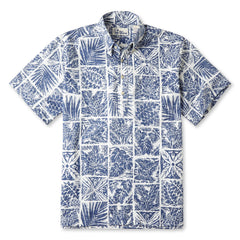 Reyn Spooner Forest Tapa Hawaiian Shirt in LAKE Blue