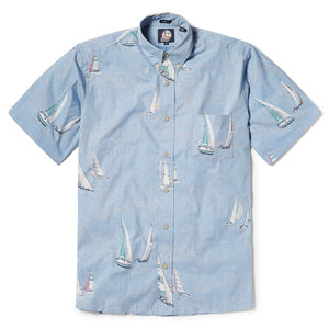 Reyn Spooner Tradewinds Regatta Classic Fit Button Front Shirt in DENIM