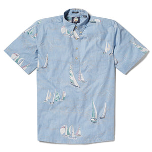 Reyn Spooner Tradewinds Regatta Classic Fit Pullover Shirt in DENIM