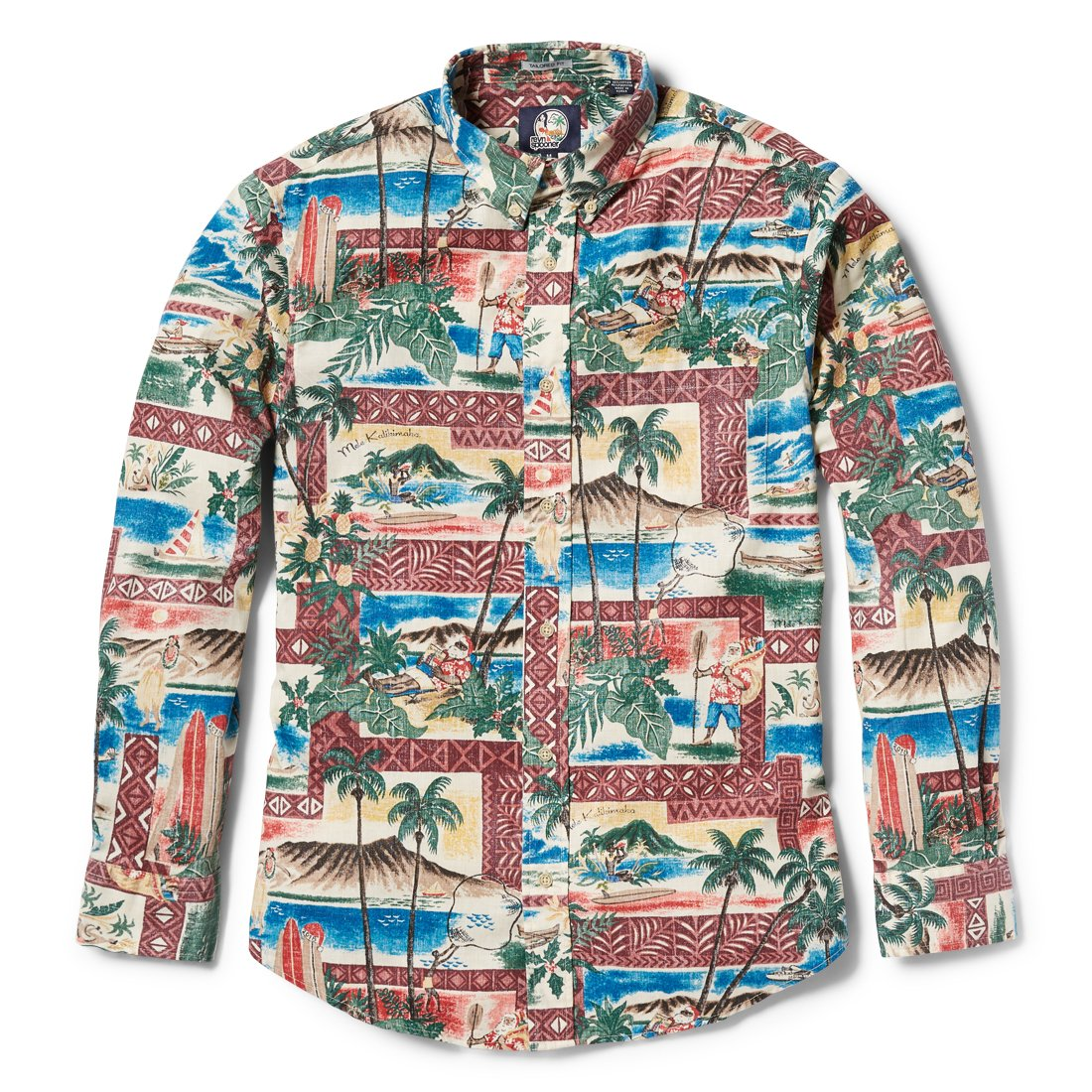 TAILORED FIT BUTTON FRONT LONG SLEEVE All sale items are FINAL SALE and cannot be returned or exchanged. Weve washed this shirt in our special Weekend Wash, which gives a softer feel and a more relaxed look. Now you can wear your favorite weekend shirt all week long. This years Hawaiian Christmas print is our 36th design since the series was first introduced in 1983. Against a backdrop of ocean and mountain scenes framed by tapa borders, Santa is shown carrying his treasured bag of gifts, paddling his canoe, and relaxing on his lounge chair after his work is finally done. See if you can spot the year 2018 in two places in the print. A must-have for the avid collector. Button Front Tailored Fit: Trimmer than traditional aloha shirts for a modern tailored look Full button front closure Button-down collar Short sleeve Print-matched left chest pocket Rounded shirt tail for a contemporary untucked look Spooner Kloth TM-55% cotton, 45% polyester Wrinkle free; machine wash cold, tumble dry l