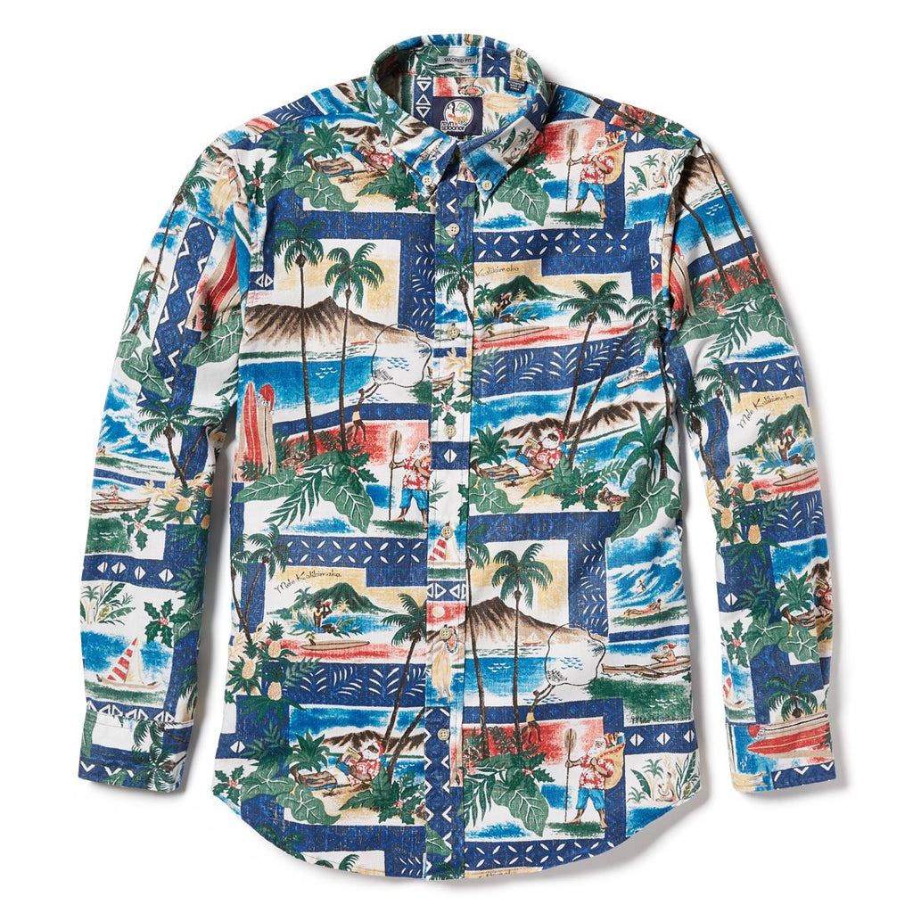 Reyn Spooner Hawaiian Christmas 2018 Tailored Fit Button Front Long Sleeve in ROYAL