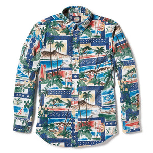 d2573bd3 Reyn Spooner Hawaiian Christmas 2018 Tailored Fit Button Front Long Sleeve  in ROYAL