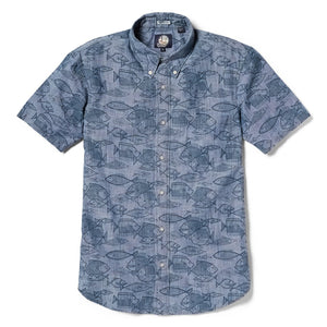 Reyn Spooner Kauhulu Chambray Tailored Fit Button Front Shirt in CHAMBRAY