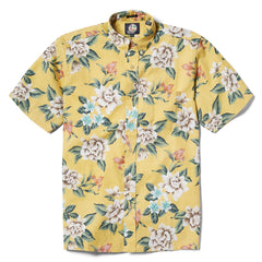 Reyn Spooner Hou Pua Nui Classic Fit Button Front Shirt in YELLOW