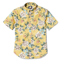 Reyn Spooner Hou Pua Nui Tailored Fit Button Front Shirt in YELLOW