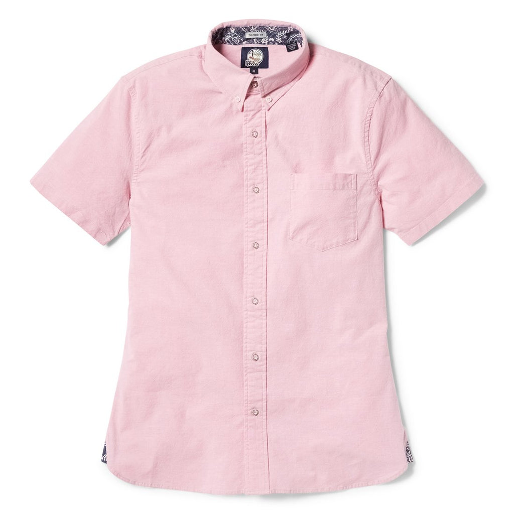 Reyn Spooner Solid Stretch Oxford Tailored Fit Button Front Shirt in PINK