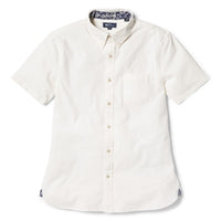 Reyn Spooner Solid Stretch Oxford Tailored Fit Button Front Shirt in WHITE