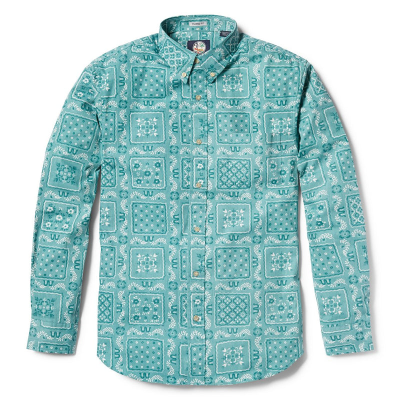 Reyn Spooner Original Lahaina Multi Tailored Fit Button Front Long Sleeve Shirt in MINT