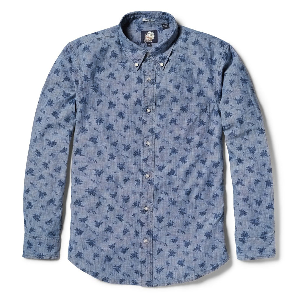 Reyn Spooner Floral Chambray Tailored Fit Button Front Long Sleeve Shirt in CHAMBRAY