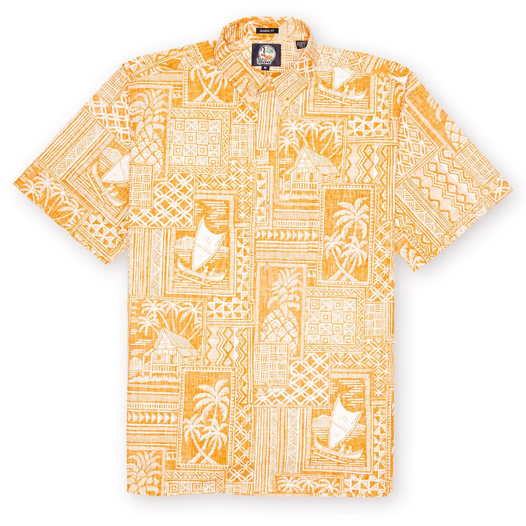 Reyn Spooner Tapa Wrappa Classic Fit Button Up Shirt in BUTTERSCOTCH