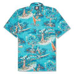 Reyn Spooner Moana Medley Classic Fit Button Front Shirt in SURF