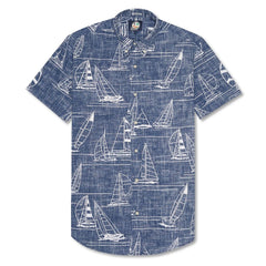 Reyn Spooner Newport 2 Honolulu Button Front Tailored Fit Shirt in INK