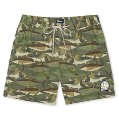 Reyn Spooner Camo Fish Swim Short Bottom in ARMY