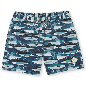 "CAMO FISH / ELASTIC WAIST SWIMSUIT 7.5"" INSEAM"