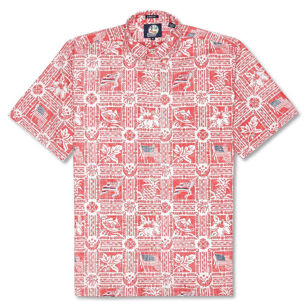 Reyn Spooner Summer Commemorative 2018 Classic Fit Button Front Shirt in CARDINAL