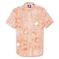 Reyn Spooner Tapa Wrappa Button Front Tailored Fit Shirt in BRIGHT ORANGE