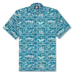 Reyn Spooner Spooner Sports Classic Fit Button Front Shirt in BLUE